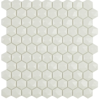 Мозаика VIDREPUR Hexagon Matt № 904D (белый, на сетке), м2