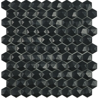 Мозаика VIDREPUR Hexagon Matt  № 903D (черный, на сетке), м2